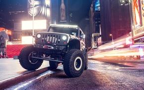 Картинка car, ночь, улица, тюнинг, внедорожник, Supercharged, Jeep Wrangler, Automotive Photography, Andrew Link