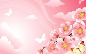 Картинка цветы, коллаж, бабочка, ветка, весна, сад