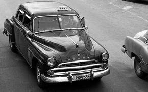 Картинка ретро, черно-белое, Dodge, такси, винтаж, Гавана, 1960-е