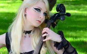 Картинка Nature, Blonde, Violin, Look, Maria Amanda, Stock, Romantic Goth