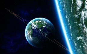 Картинка звезды, планета, кольца, атмосфера, satellite