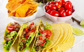 Обои мясо, овощи, помидоры, салат, чипсы, peppers, tomatoes, fast food, meat, vegetables