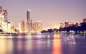 Картинка ночь, город, огни, здания, небоскребы