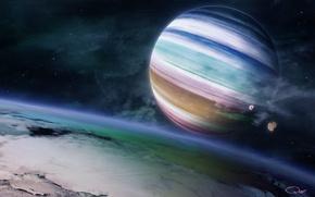 Обои планета, газовый гигант, the rainbow feel