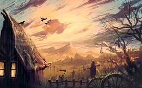 Картинка небо, свет, забор, арт, вороны, домик, ливень, пугало