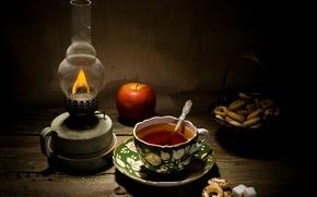 Картинка уют, чай, лампа, сахар, сушки, с маком