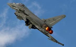 Картинка небо, облака, полет, самолет, крылья, истребитель, Eurofighter Typhoon