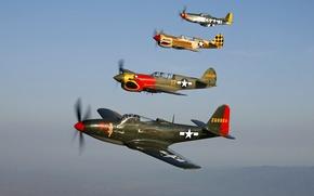 "Картинка Bell P-63A Kingcobra ""Pretty Polly"", Warhawk Curtiss P-40N Warhawk ""Parrothead"", Curtiss P-40N Warhawk, P-51D Mustang …"
