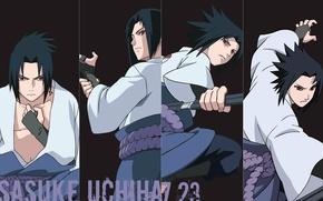 Картинка коллаж, черный фон, ниндзя, Naruto, красные глаза, sharingan, ninja, Uchiha Sasuke, Наруто Ураганные хроники