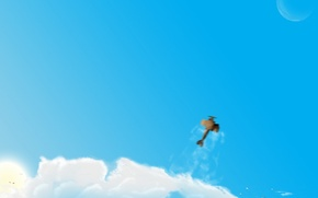 Обои облака, рисунок, Самолет