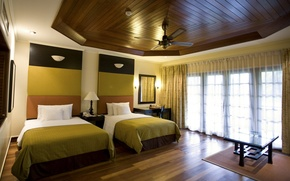 Обои дизайн, стиль, комната, кровать, интерьер, окно, занавески, квартира, спальня