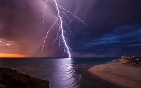Картинка небо, ночь, молния, вечер, Австралия