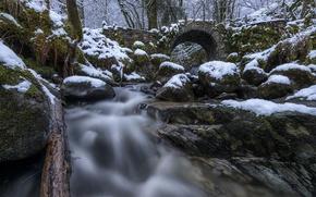Картинка лес, снег, мост, камни, Шотландия, речка, Scotland, Glen Creran, Fairy Bridge