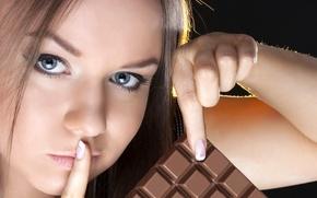 Картинка девушка, настроение, один, красивая, жест, еще, шоколадное, кусочек, никому, и хорошее настроение не покинет больше …