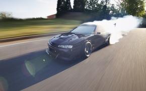 Обои луч, скорость, drift, блики, burnout, 240, ниссан, сильвия, дрифт, Nissan, silvia, солнце, s14
