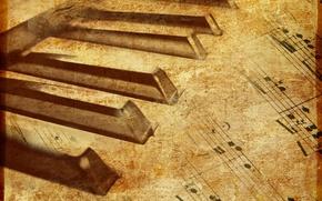 Обои Ноты, пианино, музыка, текстуры