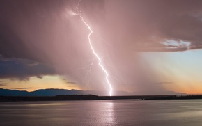 Обои гроза, небо, закат, озеро, молния, вечер, Колорадо, USA, США, storm, sky, lightning, sunset, lake, evening, ...