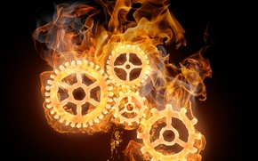 Картинка огонь, механизм, шестерёнки, Flames
