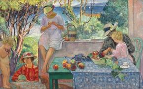 Картинка море, стол, люди, вилла, картина, сад, парус, жанровая, Tasting Fruits on the Terrasse at Sainte-Maxime, …