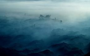 Обои туман, деревья, горы