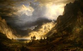 Обои картина, Альберт Бирштадт, пейзаж, Буря в Скалистых Горах