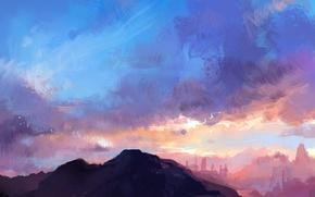 Обои небо, облака, пейзаж, горы, природа, арт, fom
