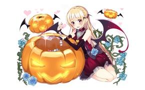 Картинка девушка, аниме, арт, тыква, Хеллоуин, halloween