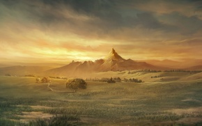 Обои гора, небо, дом, поле