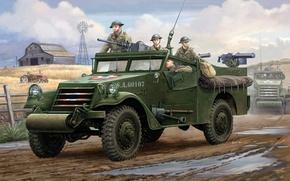 Картинка машины, арт, сзади, пулемет, США, системы, справа, слева, WW2, Браунинг, впереди, U.S. M3A1, пулемета, калибра, …