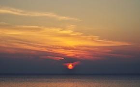 Картинка fireball, twilight, sky, sea, ocean, sunset, seascape, dusk, horizon