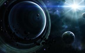 Обои Астероиды, туманности, кольца, звезды, планеты