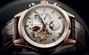 Картинка часы, Moon, rose, gold, Zenith, Sunpahse, Chronomaster, Open, Date, El - Primero, Grande