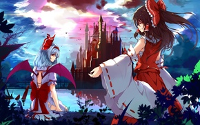 Картинка ночь, озеро, замок, крылья, бант, полнолуние, remilia scarlet, hakurei reimu, touhou project