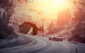 Картинка McLaren, Sunset, Smoke, Supercar, Rear, Drifting