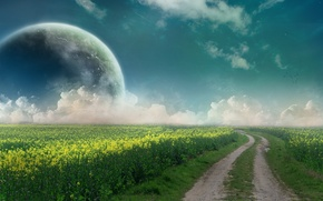Обои дорога, небо, планета, поле, облака