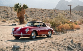 Картинка car, красный, пустыня, red, кабриолет, классика, classic, german, PORSCHE, 356B, ROADSTER