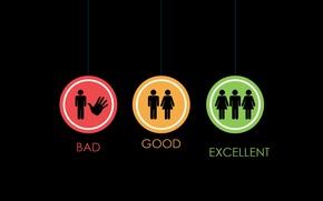 Обои Good, Excellent, знаки, Bad