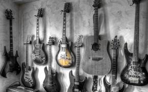 Обои музыка, стена, гитары