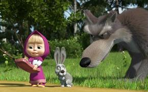 Обои волк, телефон, маша и медведь, заяц
