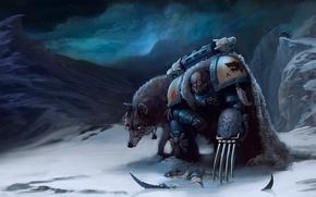 Картинка снег, горы, когти, волки, Warhammer, Space Wolves, космодесантник, 40k, хормагаунт, Tyranid