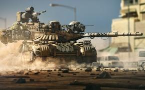 Картинка оружие, фантастика, война, танк, рендер