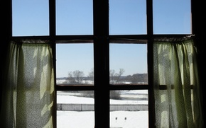 Картинка небо, снег, весна, окно, занавески, wallpaper, wallpapers