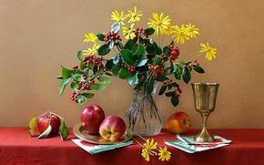 Картинка цветы, яблоки, ваза, фрукты, натюрморт, кубок