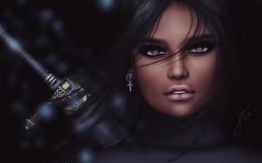 Картинка взгляд, девушка, лицо, фон, волосы, меч, рукоятка