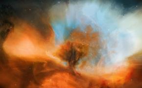 Картинка космос, звезды, туманность, облако, арт