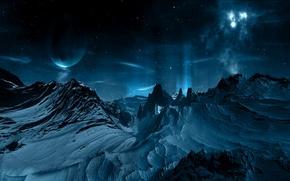 Обои планета, звезды, горы, созвездие