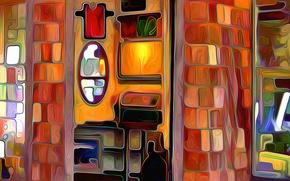 Обои комната, рендеринг, зеркало, интерьер
