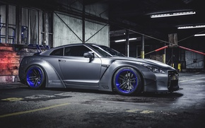 Обои Nissan, GT-R, Car, Front, Side, Tuning, Wheels, Spoiler, Liberty Walk, LB Perfomance