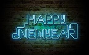 Картинка свет, стена, праздник, новый год, кирпич, неон, 2012, new year, слова, поздравление, merry christmas