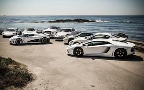 Картинка Maserati, Mercedes-Benz, Lamborghini, Porsche, Rolls-Royce, Phantom, Koenigsegg, Panamera, Ferrari, Sky, 458, Sun, Water, Murcielago, White, ...